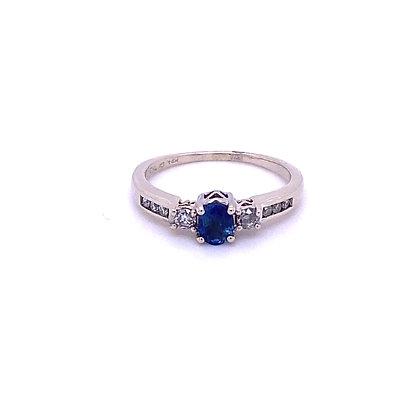 Diamond and sapphire ring
