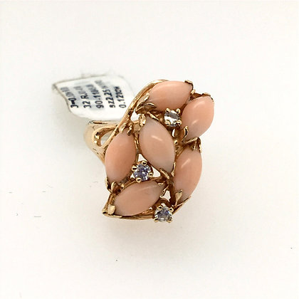 Baby pink coral and diamond ring