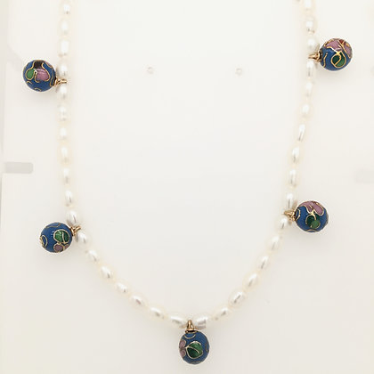 Cloisonne bead pearl necklace