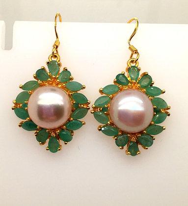 Pearl and emerald earrings