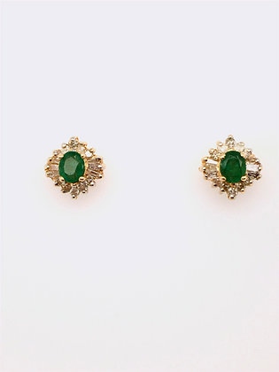 Emerald and diamond post earrings