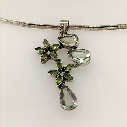 Green amethyst and peridot necklace