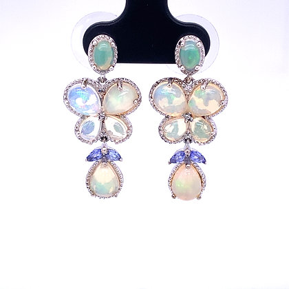 Opal and tanzanite drop earrings