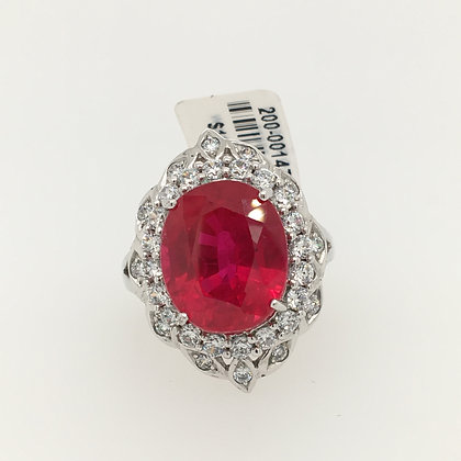 Ruby and cubic zirconium ring