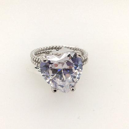 Cubic zirconium heart ring