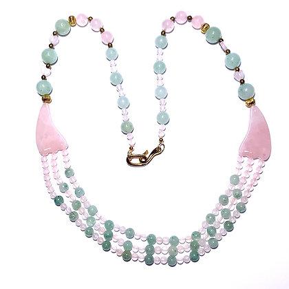 Rose quartz and aventurine necklace