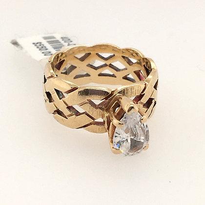 Cubic zirconium braided ring