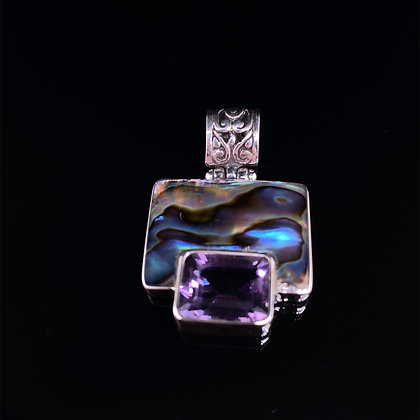 Abalone and amethyst pendant