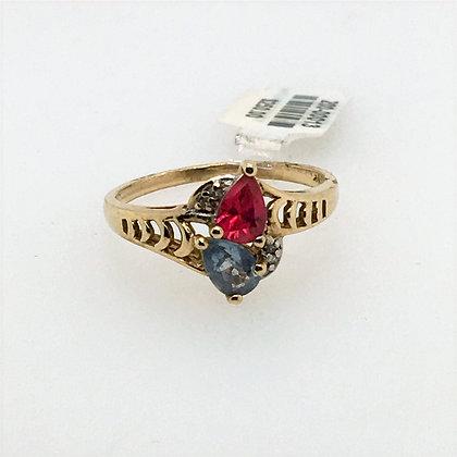 Ruby and aquamarine ring