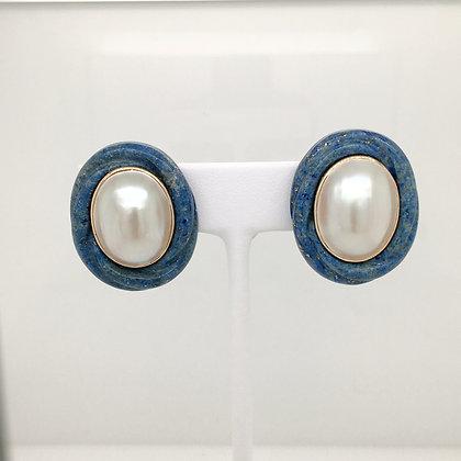 Lapis and pearl earrings