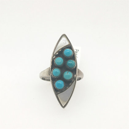 Mother of pearl and turquoise ring