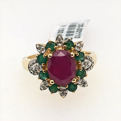 Ruby, emerald, and diamond ring
