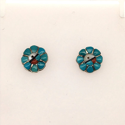 Turquoise, mother of pearl, and coral earrings