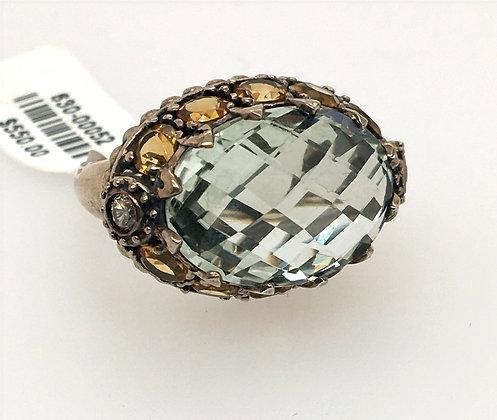 Quartz, citrine, and diamond ring