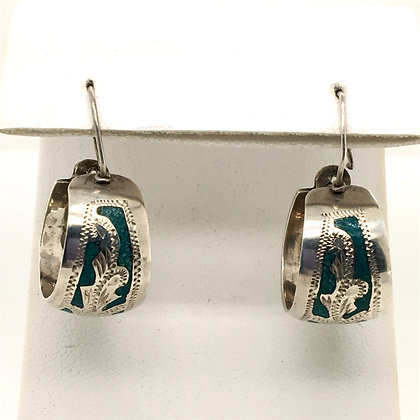 Turquiose inlay hoop earrings