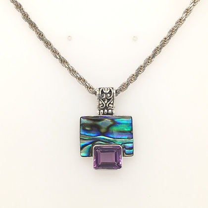 Abalone and amethyst necklace