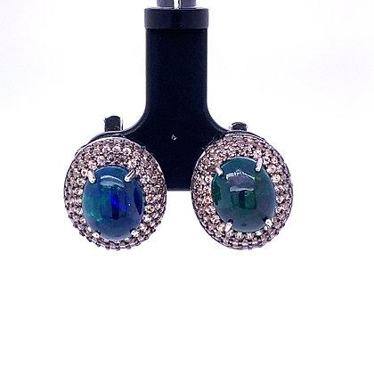 Opal and sapphire earrings