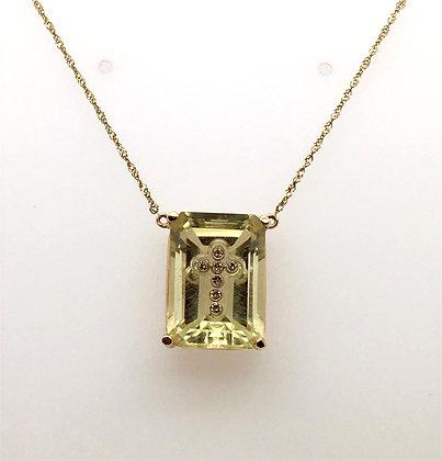 Lemon quartz and diamond necklace