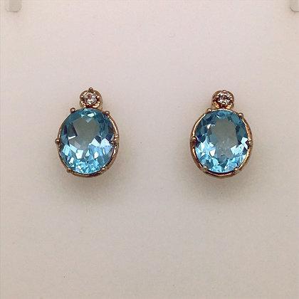 Blue and white topaz earrings