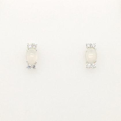 Moonstone and cubic zirconium earrings