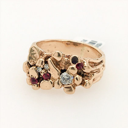 Diamond and ruby nugget ring