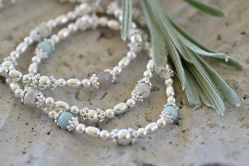 Silberarmband mit Steinen elastic