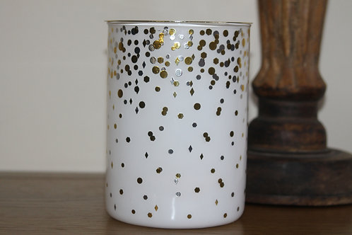 White and gold dots burner