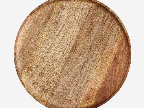 Plato redondo de madera de mango d.35 cm.