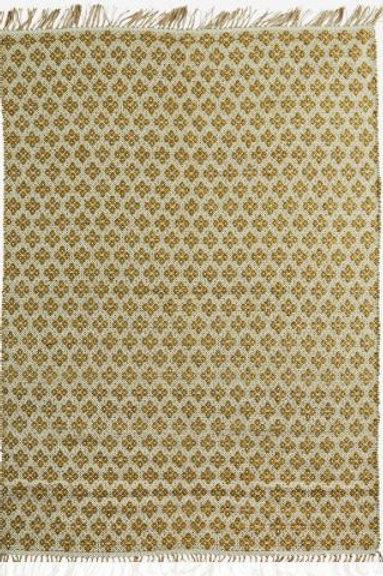 Alfombra de jute y algodón color natural y mostaza 120x180 cm.