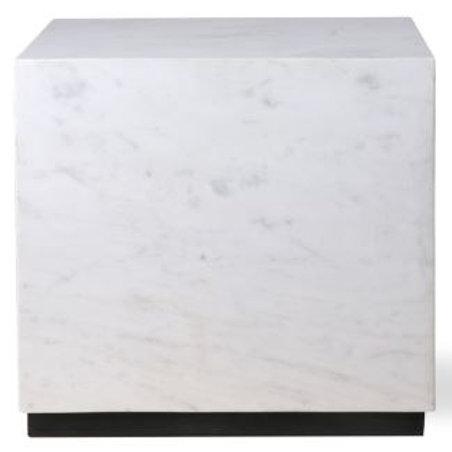 Mesa bloque de mármol blanco 35x35x32,5 cm