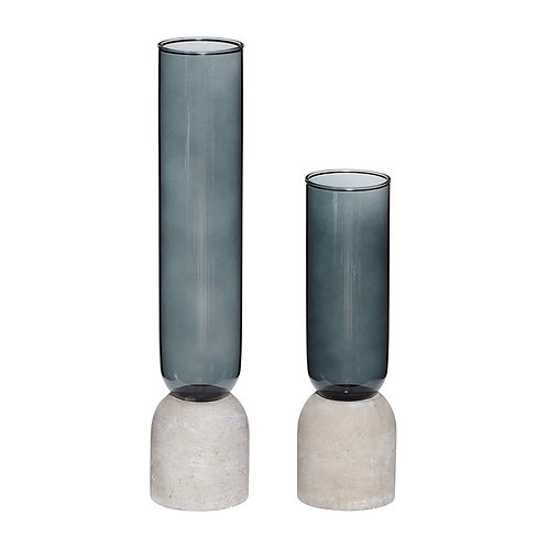 Jarron cristal azul y base cemento gr