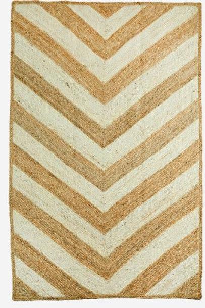 Alfombra de yute en tono natural y blanco 155x245 cm