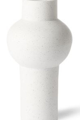 Jarrón de gres moteado blanco 15x15x30,5 cm