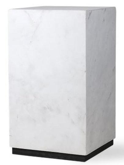Mesa bloque de mármol blanco 25x25x42 cm