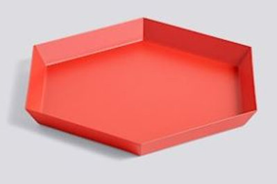 Bandeja hexagonal roja de acero lacado 22 x 19 cm.