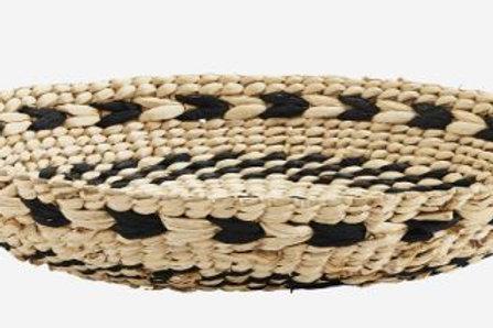 Bandeja de mimbre color blanco y negro GD d.35xh5,5 cm.