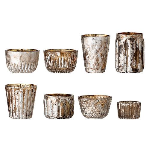Portavelas de cristal ahumado  (varios diseños, precio por unid)