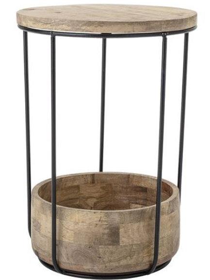 Mesa auxiliar de metal lacado negro y madera mango Ø34 x h48 cm