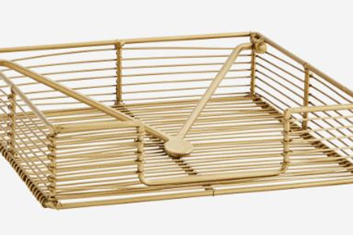 Servilletero de alambre dorado 18x18xh4,5 cm