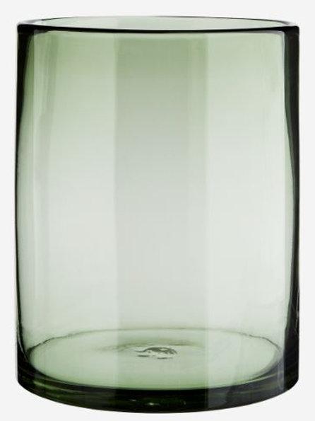 Jarrón ancho de cristal ahumado gris d.17,5xh22 cm