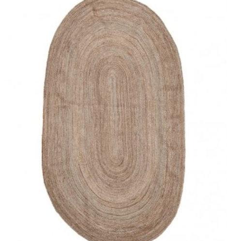 Alfombra de yute ovalada 150 x 90 cm.