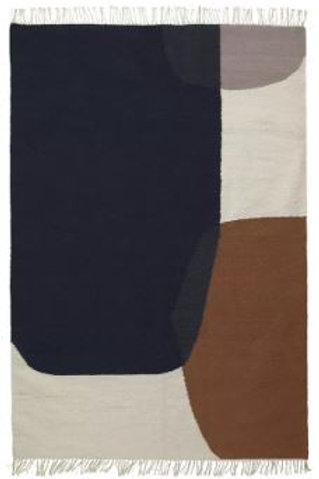Alfombra cuadros Dark Blue W: 80 x D140cm