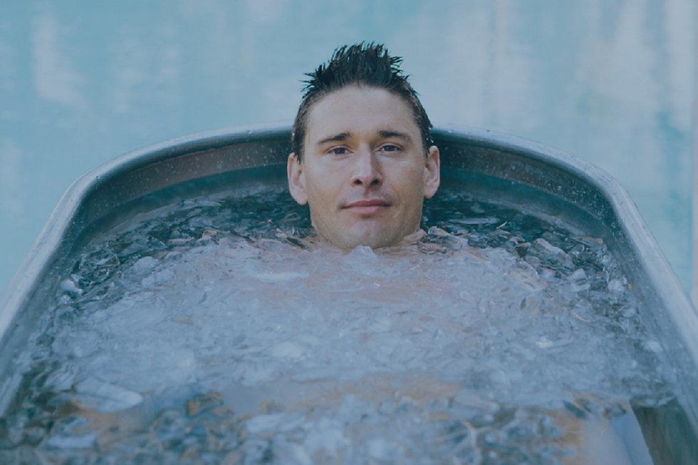 Ben Greenfield Sitting in Morozko Forge Ice Bath
