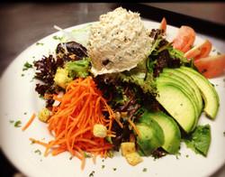 Organic Baby greens on Tuna Salad