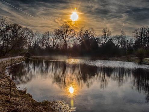 Landscape, sun, interesting clouds, reflection