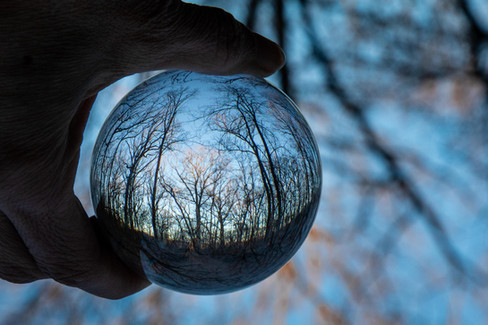 Nature photo through crystal lens ball
