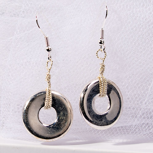 Bright Silver Disc Earrings