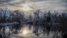 Trees after ice storm - Bare tree, interesting clouds - nature photo