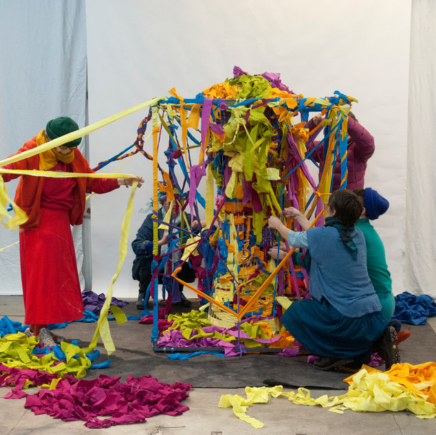 Communal Vortex Weaving with Jennifer Zackin at Three Phase Center