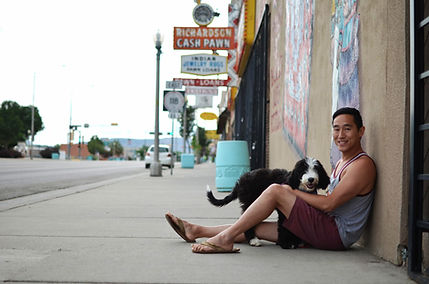 Man and a puppy